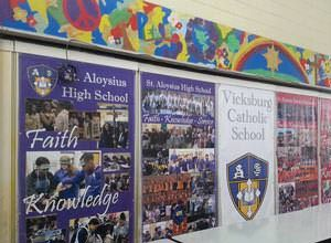 Vinyl banners hung in a school.