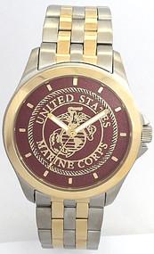 Steel/Gold Marine Corps Watch Dark Red Dial
