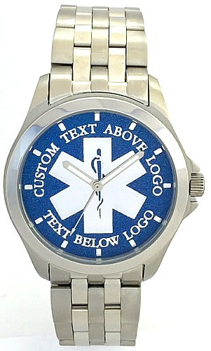 All Stainless EMS Watch Star of Life Blue Dial