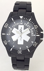 Custom EMS Star of Life Watch Black Aluminum Black Dial