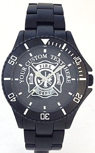 Custom Maltese Cross Firefighter Watch Black Aluminum Black Dial