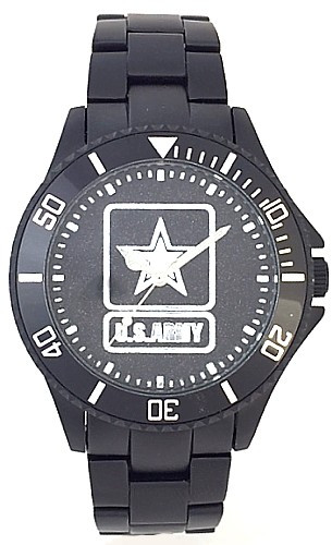 US Army Watch Black Aluminum Black Medallion Dial
