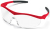 Crews Storm Safety Glasses with Red Frame and Clear Lens