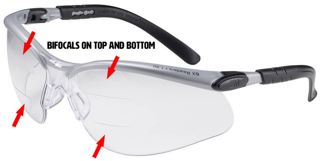 3m bx dual reader safety glasses with clear antifog lens and upperlower