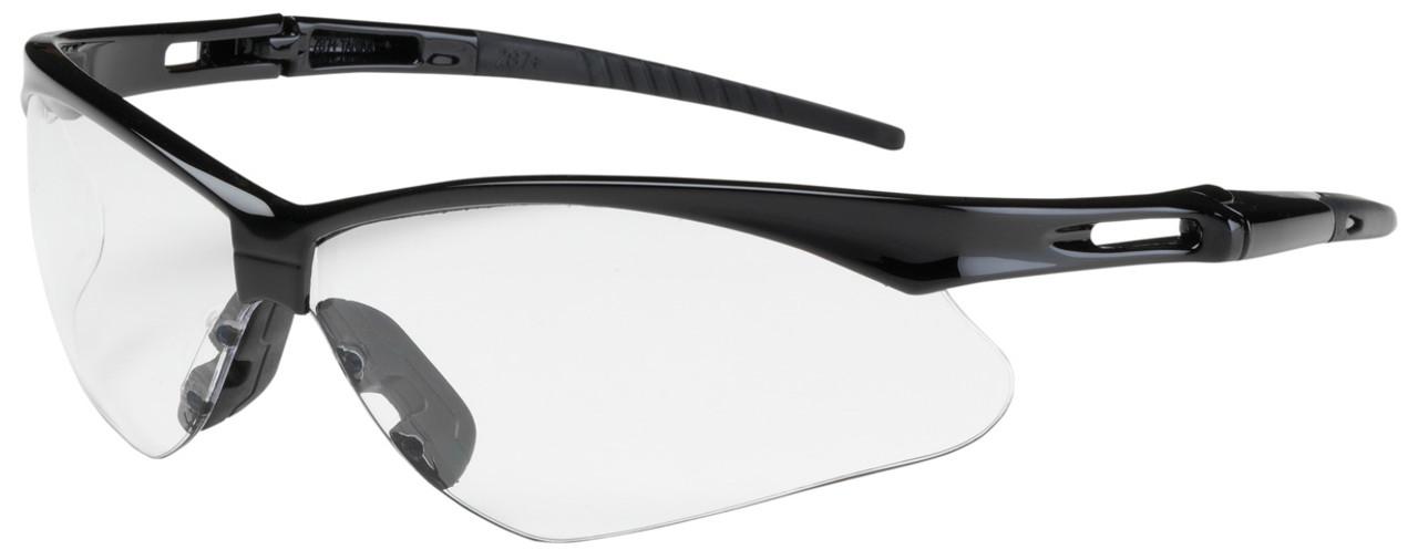Bouton anser safety glasses black frame clear anti fog lens for Anti bouton maison