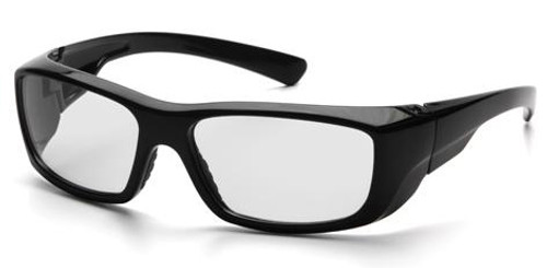 Pyramex Emerge Safety Glasses with Black Frame and Clear Full Magnifying Lens