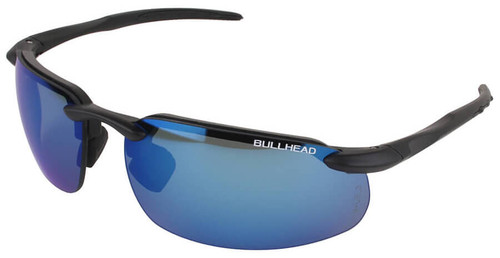 Bullhead Swordfish Safety Glasses with Matte Black Frame and Polarized Precision Blue Mirror Lens