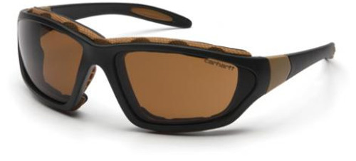 Carhartt Carthage Safety Glasses/Goggles with Black Frame and Sandstone Bronze Anti-Fog Lenses