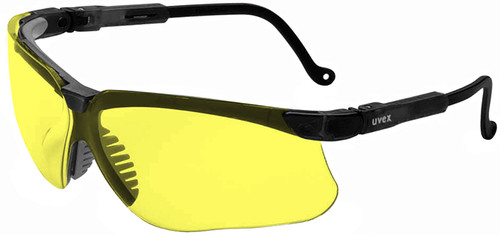 Uvex Genesis Safety Glasses with Black Frame and Amber Lens