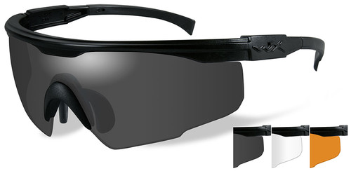 Wiley X PT-1 Ballistic Sunglasses Kit with Black Frame and Smoke, Clear and Light Rust Lenses