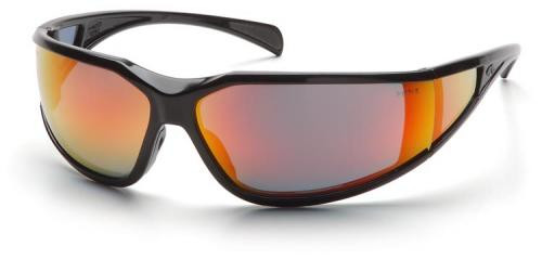 Pyramex Exeter Safety Glasses with Black Frame and Sky Red Mirror Anti-Fog Lens