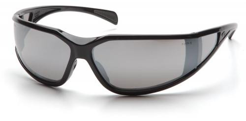 Pyramex Exeter Safety Glasses with Black Frame and Silver Mirror Anti-Fog Lens