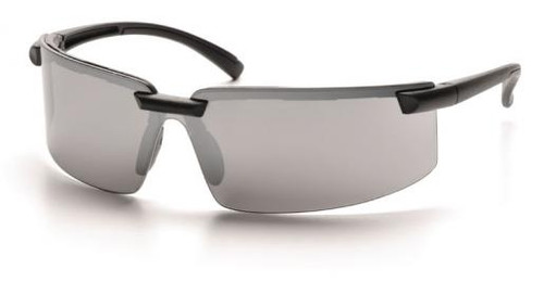 Pyramex Surveyor Safety Glasses with Black Frame and Silver Mirror Lens