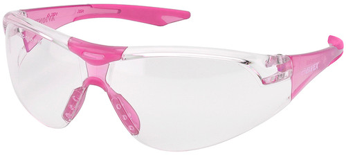 Elvex Avion SlimFit Safety Glasses with Pink Temples and Clear Lens