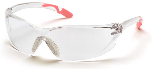 Pyramex Achieva Safety Glasses with Pink Temple Tips and Clear Lens