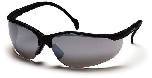 Pyramex Venture 2 Safety Glasses with Black Frame and Silver Mirror Lens