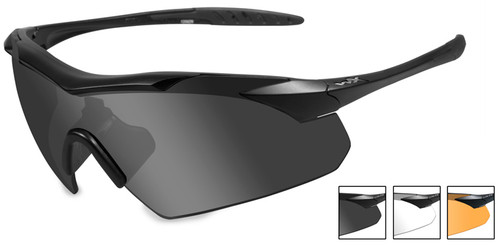 Wiley X Vapor Safety Sunglasses with Matte Black Frame and Grey, Clear and Light Rust Lenses