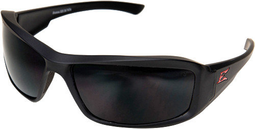 Edge Brazeau Torque Safety Glasses with Black Frame, Red E Logo and Smoke Lens