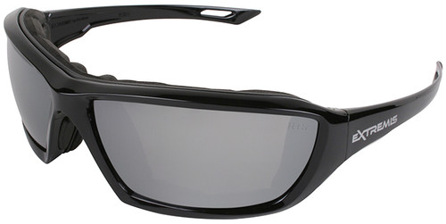 Radians Extremis Safety Glasses with Black Gloss Frame and Silver Mirror Anti-Fog Lens with Foam Seal