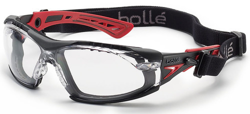 Bolle Rush Plus Safety Glasses with Black/Red Temples, Foam Gasket and Clear Platinum Anti-Fog Lens