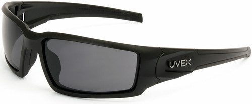 Uvex Hypershock Safety Glasses with Matte Black Frame and Gray Hydroshield Anti-Fog Lens