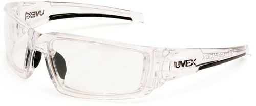 Uvex Hypershock Safety Glasses with Clear Ice Frame and Clear Hydroshield Anti-Fog Lens
