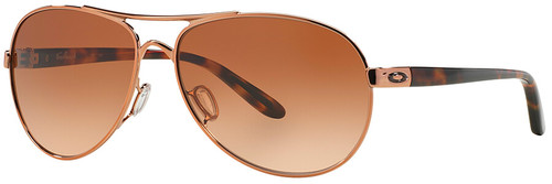 Oakley Feedback Sunglasses with Rose Gold Frame and VR50 Brown Gradient Lens