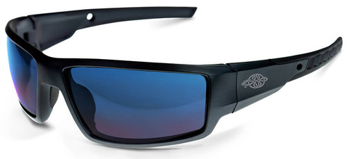 Crossfire Cumulus Safety Glasses with Matte Black Frame and Blue Mirror Lens
