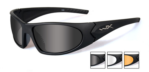 Wiley X Romer III Advanced Ballistic Safety Glasses Kit with Gloss Black Frame and Smoke, Clear & Light Rust Lenses