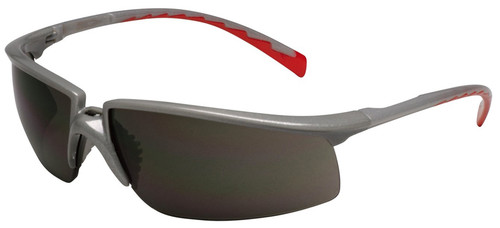 3M Privo Safety Glasses with Silver/Red Frame and Gray Anti-Fog Lens