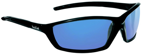 Bolle Solis Safety Glasses with Shiny Black Frame and Blue Mirror Anti-Scratch Lenses