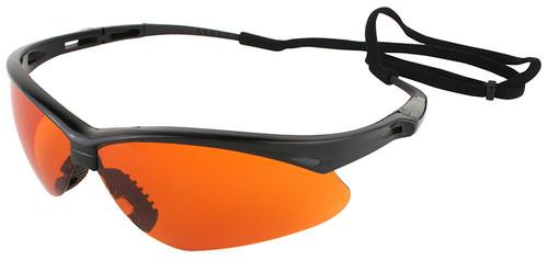 Jackson Nemesis Safety Glasses with Black Frame and Blue Shield Lens