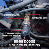 Dodge Ram Cummins 12 Valve Fuel Pressure Banjo Bolt Adapter Installed