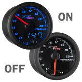 Black and Blue MaxTow Wideband Air to Fuel Ratio Gauge On/Off