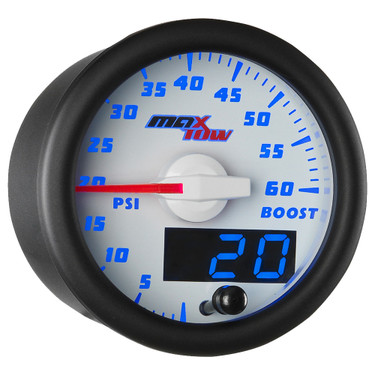 White and Blue MaxTow Double Vision 60 PSI Boost Gauge