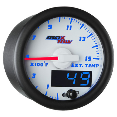 White & Blue MaxTow Double Vision 1500° F Pyrometer EGT Gauge