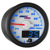 White & Blue MaxTow Double Vision 100 PSI Fuel Pressure Gauge
