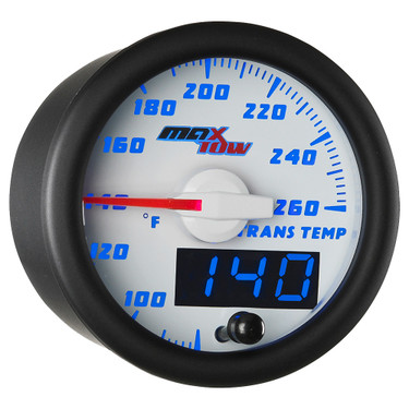 White & Blue MaxTow Double Vision Transmission Temperature Gauge
