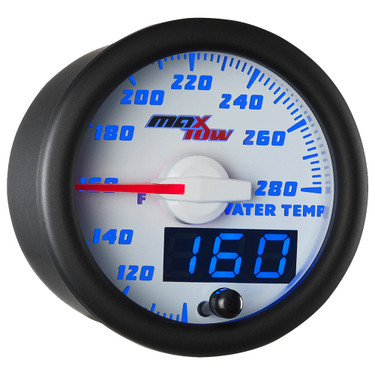 White & Blue MaxTow Double Vision Water Temperature Gauge