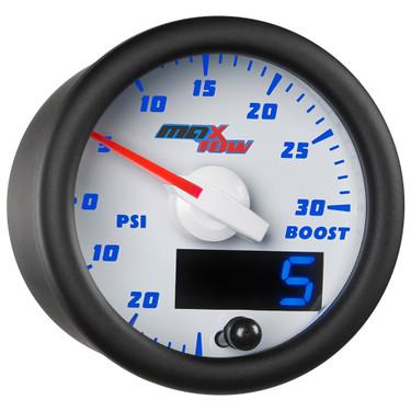 White & Blue MaxTow 30 PSI Boost/Vacuum Gauge