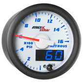 White & Blue MaxTow Double Vision Nitrous Pressure Gauge