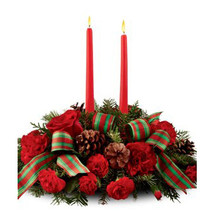 DOUBLE CANDLE HOLIDAY CENTERPIECE