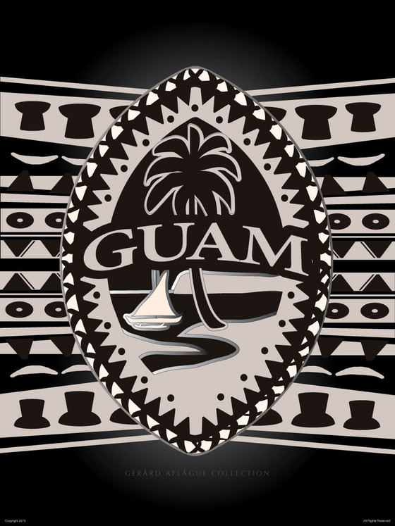 Tribal Guam Seal Motif Fine Art Poster Illustration