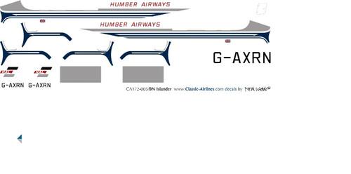1/72 Scale Decal Humber Airways BN2 Islander