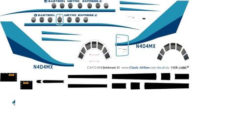 1/72 Scale Decal Eastern Metro Express Jetstream 31