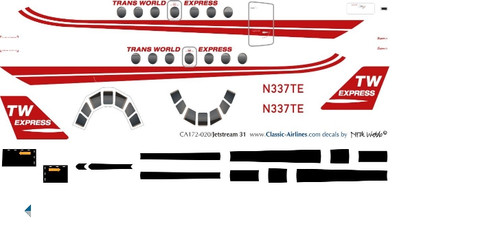 1/72 Scale Decal Trans World Express Jetstream 31