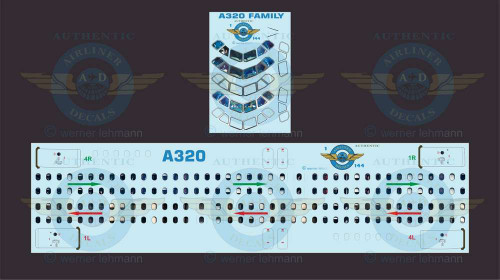 1/144 Scale Decal Lifelike Cockpit / Windows / Doors A320