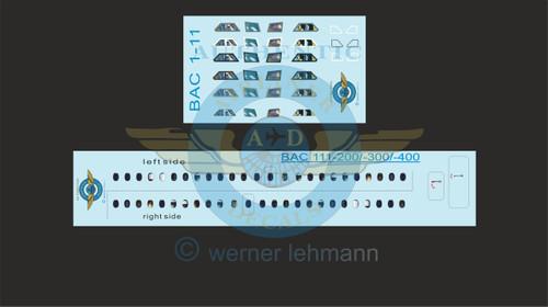 1/144 Scale Decal Lifelike Cockpit / Windows / Doors BAC111-200 / 300 / 400