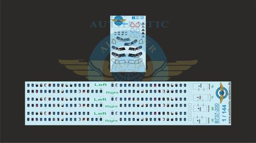 1/144 Scale Decal Lifelike Cockpit / Windows / Doors 737-200