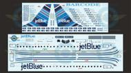 1/144 Scale Decal Jet Blue ERJ-190 BARCODE With Lifelike Cockpit / Windows